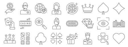 casino line icons. linear set. quality vector line Stock Illustratie