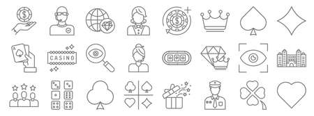 casino line icons. linear set. quality vector line set such as heart, policeman, card game, customer, view, search, card game, casino chip, bouncer