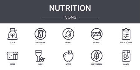 set of 10 nutrition concept line icons. Vettoriali