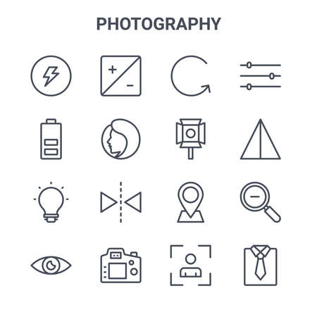 set of 16 photography concept vector line icons.