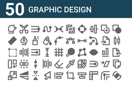 set of 50 graphic design icons. thin outline