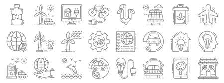 environment and eco line icons. linear set. quality vector line