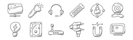 12 set of linear technology icons. thin outline