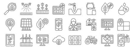 smart farm line icons. linear set. quality vector line set such as water, tractor, smart farm, info, smart farm, settings, humidity, machine, watering