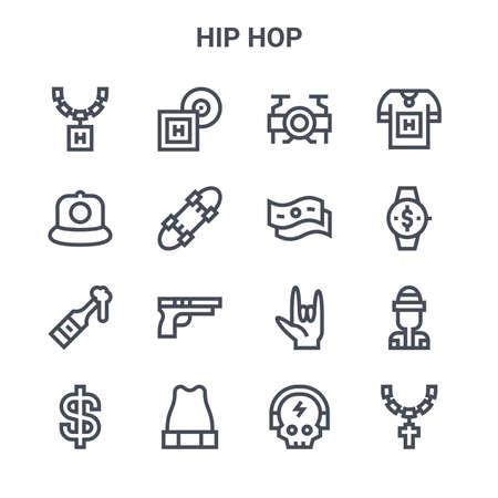 set of 16 hip hop concept vector line icons.