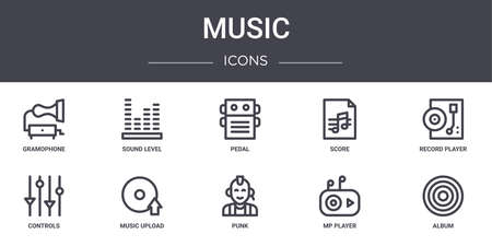 music concept line icons set. contains icons usable for web ui/ux such as sound level, score, controls, punk, mp player, album, record player, pedal