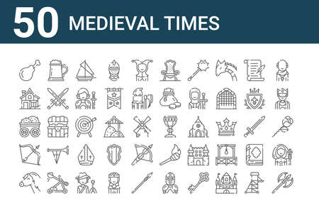 set of 50 medieval times icons. outline thin line icons such as ax, horse, arrows, wooden, medieval house, beer mug, holy chalice, throne, dartboard, torch Ilustracja