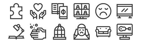 12 set of linear mental health icons. thin outline icons