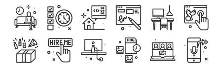12 set of linear work from home icons. thin outline