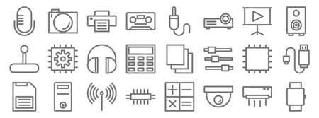 technology line icons. linear set. quality vector line.
