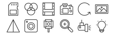 12 set of linear photography icons. thin outline icons. Ilustrace