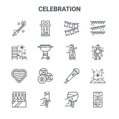 set of 16 celebration concept vector line icons. 일러스트