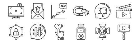 12 set of linear videoblogger icons. thin outline.