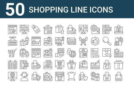 set of 50 shopping line icons icons. outline thin line. Ilustração