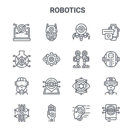set of 16 robotics concept vector line icons. Ilustração