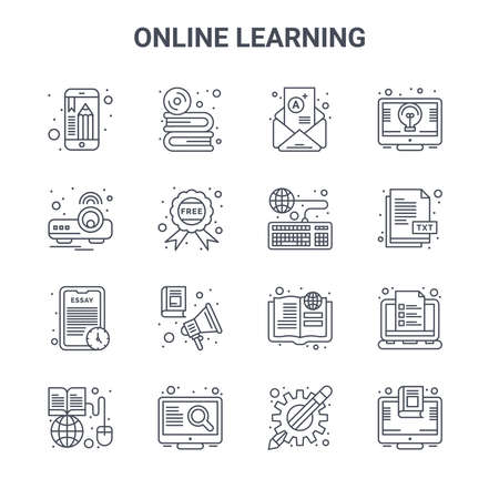 set of 16 online learning concept vector line icons.