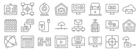telecommuting line icons. linear set. quality vector line.