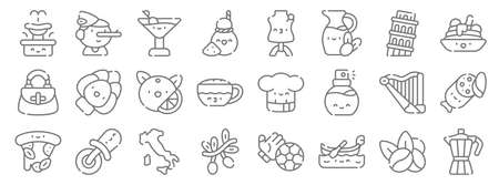 italy line icons. linear set. quality vector line.