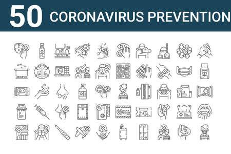 set of 50 coronavirus prevention icons. outline thin line.