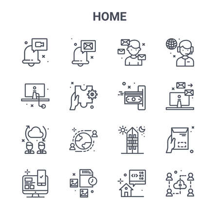 set of 16 home concept vector line icons.
