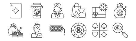12 set of linear casino icons. thin outline.