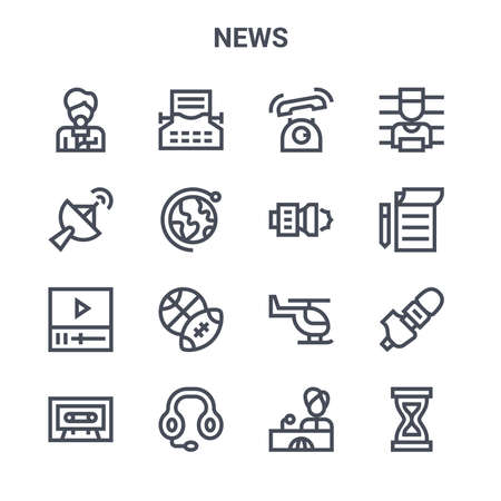 set of 16 news concept vector line icons.