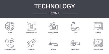 set of 10 technology concept line icons.