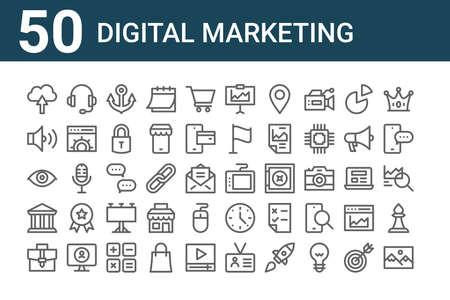 set of 50 digital marketing icons. outline thin line. Ilustração