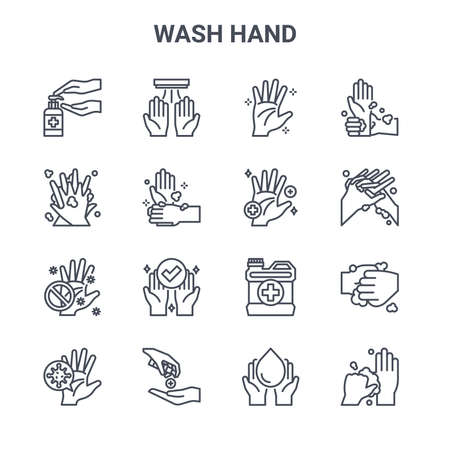 set of 16 wash hand concept vector line icons.