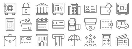 banking and finance line icons. linear set. quality vector line.