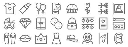 mothers day line icons. linear set. quality vector line.