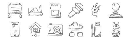 12 set of linear technology icons. thin outline. Ilustrace