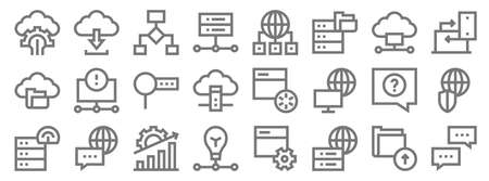 big data line icons. linear set. quality vector line.