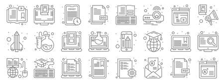 online learning line icons. linear set. quality vector line.