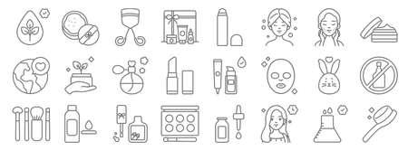 beauty cosmetics line icons. linear set. quality vector line. 向量圖像