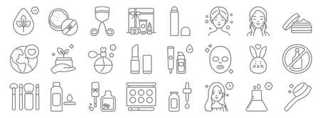 beauty cosmetics line icons. linear set. quality vector line. Illustration