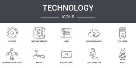 10 technology concept line icons set.