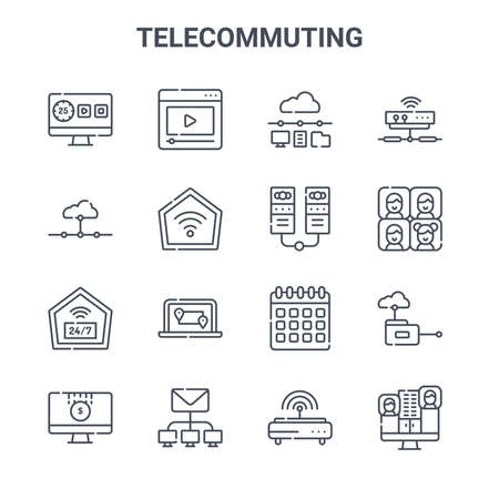 set of 16 telecommuting concept vector line icons.