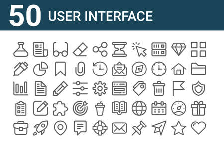 set of 50 user interface icons. outline thin line.