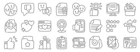 feedback and testimonials line icons. linear set. quality vector line. Illustration