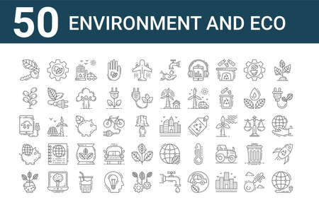 set of 50 environment and eco icons. outline thin line.
