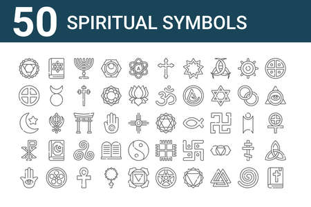 set of 50 spiritual symbols icons. outline thin line.