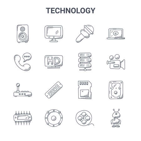 set of 16 technology concept vector line icons.