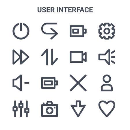 set of 16 user interface concept vector line icons. Ilustração