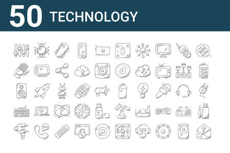 set of 50 technology icons. outline thin line.