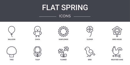 10 flat spring concept line icons set.