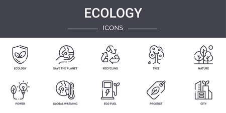 10 ecology concept line icons set.
