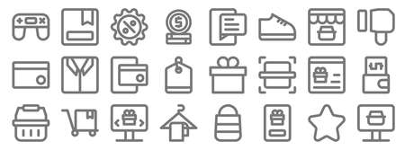 ecommerce line icons. linear set. quality vector line set
