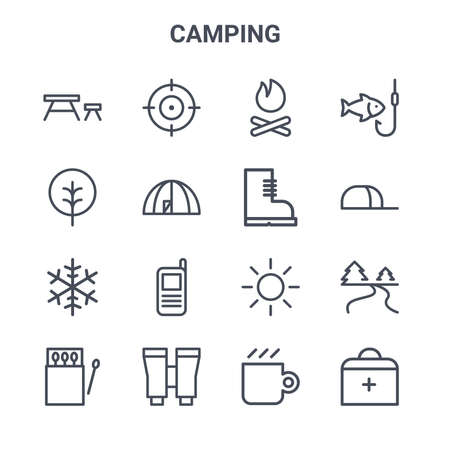 set of 16 camping concept vector line icons.
