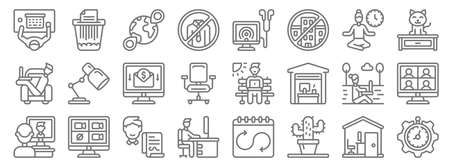 home office line icons. linear set. quality vector line.